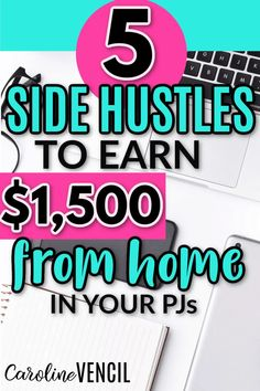 Do you want to earn some extra cash to help with groceries or other monthly bills?  Here are 5 side hustles that can help you earn $1,500 a month. #sidehustleideas #sidehustleideasathome #makemoneyonlinefromhome #moneymakingtips #sidehustlesforwomen #sidehustlesformoms