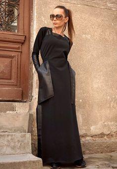 New+Summer+Maxi+Dress/Cotton+Dress/Leather+Pockets+B03374