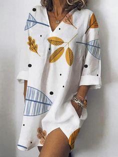 Women V-Neck Loose Printed Side Pockets Sleeve Shirt Dress - Banggood Mobile Mode Abaya, Casual Dresses, Summer Dresses, Lace Dresses, Dress Brands, Shirt Sleeves, The Dress, Lounge Wear, Trends