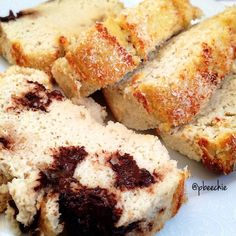 Coconut Protein Bread: Mix 1/2C coconut flour, 1 scoop vanilla whey & 1/2t baking powder in a bowl. If desired, break up 1 bar of SF chocolate (Or 1 Quest bar) & mix w/dry to prevent sinking. Blend 1/2C Greek yogurt (or applesauce), 1/4C stevia, 1/2C water, 1.5C LIQUID egg whites, 2 whole eggs, 1t vanilla & 1/4t almond. Mix wet & dry. Spray a 9x5 pan w/coconut oil (batter will be runny). Sprinkle 1/4C coconut on top. Bake for 50-55min @ 350F. Boil for a few mins & let cool