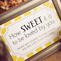 """How Sweet it is to be loved by you"" dessert table decoration for viennese dessert table."