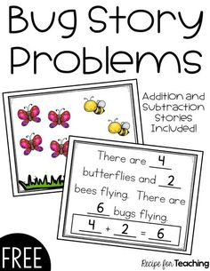 Bug Story Problems is a fun and FREE printable that way to teach simple story problems! It has students practice their addition and subtraction. Subtraction Kindergarten, Subtraction Activities, Preschool Math, Teaching Math, Math Activities, Kindergarten Addition, Math Worksheets, Educational Activities, Math Games