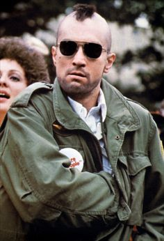 """'Taxi Driver' is a 1976 American psychological thriller starring Robert De Niro as """"Travis"""" The Best Films, Great Films, Good Movies, Saint Yves, Chauffeur De Taxi, Martin Scorsese, Taxi Driver, Actors, Military Fashion"""