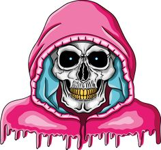 Illustration of human skull with golden teeth and pink hood.