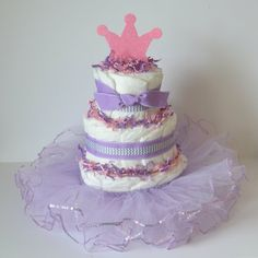 Pink+and+purple+diaper+cake+Princess+Diaper+by+CrispCreations1,+$50.00
