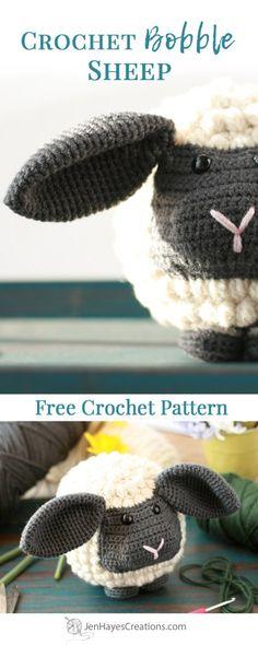 Crochet Bobble Sheep   A Free Crochet Pattern by Jen Hayes Creations