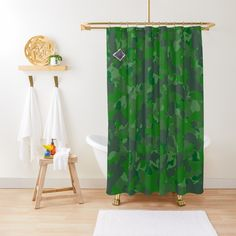 'Green camo design' Shower Curtain by MidnightBrain Camo Designs, Religious Symbols, Art Friend, Fabric Decor, Pillow Shams, Wall Tapestry, Duvet Covers, Art Photography, Sweet Home