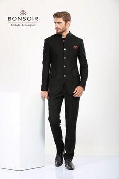 Unique Black Bandhgala Suit http://www.bonsoir.co.in/men-ethnic-wear/bandhgala-suits