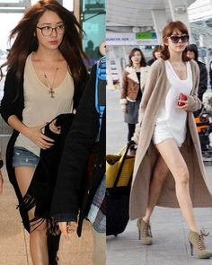 yoon eun hye's airport fashion. love her sense of style and incredibly long cardigans.
