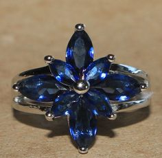 topaz ring gemstone silver jewelry Sz 8.25 modern cocktail engagement flower B7D #Cocktail