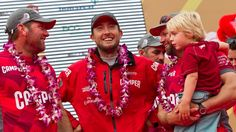 Tony Rae, Andrew McLean and Chris Nicholson with his son. CAMPER with Emirates Team New Zealand, skippered by Chris Nicholson from Australia finishes third on leg 3 of the Volvo Ocean Race 2011-12 from Abu Dhabi, UAE, to Sanya, China.