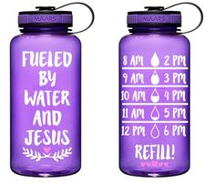 Fueled by Water and Jesus Water Bottle Tracker, Water Bottle, Drink More Water, Gym Water Bottl Gym Water Bottle, Water Bottle Tracker, Water Bottle Crafts, Water Bottle Design, Daily Water Intake, Mint Water, Happy Sabbath, Brush Lettering, Custom Tumblers