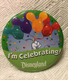 "I'm Celebrating with DISNEYLAND 3"" Button Pin Disney Souvenir DLR set of 2 pins"