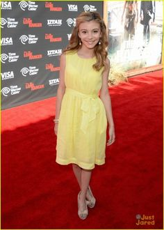 "Premiere Of Walt Disney Pictures' ""The Lone Ranger"" G Hannelius. This is such a cute summer dress that's great for all occasions. #yellow #dress #modest #projectinspired"