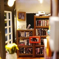 DIY 'Century Bookstore' w/ LEDs Dust Cover and Glue Wooden Kids Toy Miniature Dollhouse Diy Dollhouse, Dollhouse Miniatures, Mdf Wood, Ways To Relax, Kids Store, Kids And Parenting, Gifts For Kids, Lights, Toys