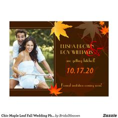 Chic Maple Leaf Fall Wedding Photo Save the Date Postcard