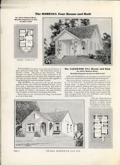 Homes of Today~Sears Kit Vintage House Plans, New House Plans, House Floor Plans, Sears Catalog Homes, Minimal Traditional, Sims House Design, Small Tiny House, Vintage Architecture, Architectural Prints