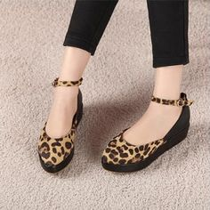 Stylish Buckle Strappy Leopard Flatforms on BuyTrends.com, only price $21.25