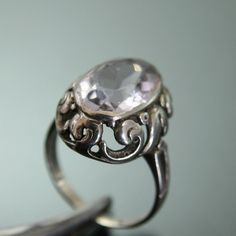 Jugendstil ring.  835 silver and amethyst. View 2.