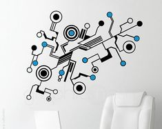 Wall decals MEDIUM TECH SHAPES Abstract circuit shaped vinyl art stickers interior decor (33x53 inches)