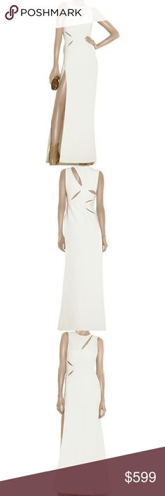 """Versace Ivory Cutout Gown $6295 White silk-cady full-length sleeveless gown with cutout detailing at front, back and side. Versace gown has a thigh-high vent at side, round neck, flared skirt, is slightly fitted at the waist, has a concealed zip fastening at the side and is partially lined. and has inserted body suit for smooth look and comfort. 100% silk; lining: 89% nylon, 11% elastine. Gown retailed $6295.  in pristine condition! Size 42 Bust 36"""" waist 28"""" hips 36"""" Length 60"""" Versace…"""