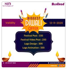 #diwali #diwalioffer #festivalpost #festivalvideopost #logodesign #logoanimation #bestoffer #bookyouroffernow #diwalicelebration #happydiwali #diwalicelebrations #diwaliwishes #diwalifestival #kenitechnologiesllp #nukkad #surat #gujrat #india