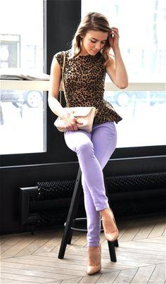leopard print peplum & lavendar