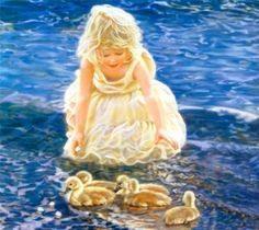 "Sandra Kuck "" Summer Fun"" Girl with Ducklings Image Size x Sandro, Portraits, Beautiful Paintings, Beach Paintings, Beautiful Children, American Artists, Retro, Summer Fun, Art For Kids"