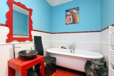 blue and red strong bathroom colours