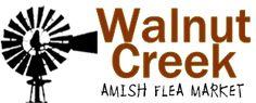 Walnut Creek Amish Flea Market in Holmes County near Sugarcreek,Ohio in Amish Country Logo Amish Country Ohio, Amish Family, Country Barns, Sugarcreek Ohio, Holmes County, Amish Community, The Buckeye State, Walnut Creek, Vacation Planner