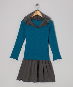 Take a look at this Teal Color Block Hooded Dress - Toddler & Girls on zulily today!