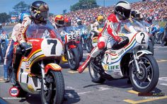 Barry Sheene & Phil Read. Mallory Park.