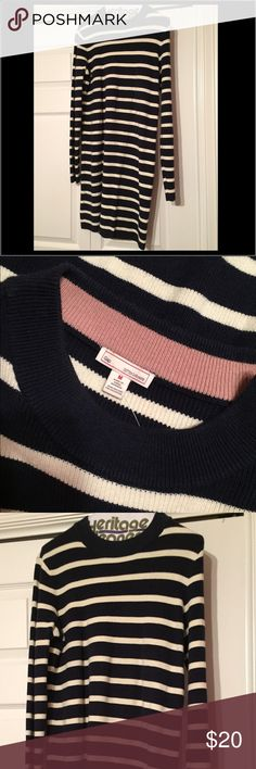 Gap long sleeve dress Navy and white sweater dress. Worn once-in excellent condition. Thick material, great for the winter! GAP Dresses Long Sleeve