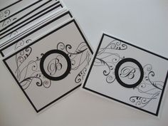 Black and white elegant homemade monogram card set of 10. $19.95, via Etsy.