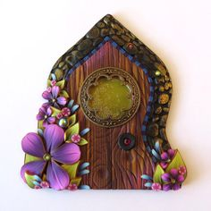 Window Fairy Door  Pixie Portal Miniature Fairy Door by Claybykim