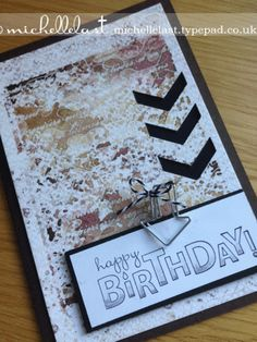 Stampin' Up! grunge card perfect for mens cards - Stampin Up Demonstrator Michelle Last. Masculine
