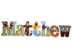 Custom Wood Wooden Hanging Nursery Hand Painted Wall Letters SS Noah Theme Noahs Ark Nursery THeme Animal Nursery