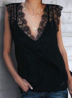 Chicnico Duplicate Lace Slit Chiffon Two-piece Top Look Fashion, Autumn Fashion, Fashion Outfits, Womens Fashion, Paris Fashion, Refashion, Dress Me Up, Cute Outfits, Fall Outfits
