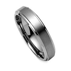 Women Wedding Band, Tungsten Ring, Titanium Color Ring, Satin Engagement Ring (6mm) - Available Sizes 5-8 Half Sizes