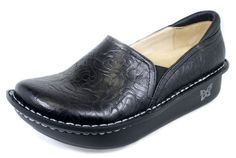 Alegria Debra Professional Black Embossed Rose Nursing Shoe
