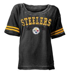 Shop the Official Steelers Pro Shop for Pittsburgh Steelers 5th & Ocean Women's Burn Out Short Sleeve Scoop T-Shirt