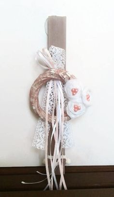 Greek Easter candle (lambada) - Vintage wreath