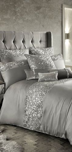 Looking for glamorous bedding and decor? Find bedding ensembles in pretty florals, blush pink and stunning metalics to give your room modern glam appeal. Bedroom Set Designs, Bedroom Sets, Master Bedrooms, Diy Home Decor Bedroom, Living Room Interior, Bedroom Furniture, Silver Bedroom Decor, Glamorous Bedding, Glam Bedding