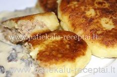 Zemaiciu blynai-mashed potatoes pancakes with meat inside.