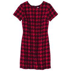 Xhilaration® Juniors Houndstooth Shift Dress - Red