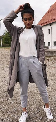 fall casual style inspiration long cardigan + white top + pants + sneakers