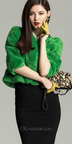 Green fur jacket.