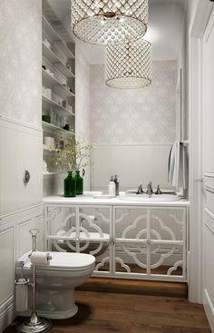 #Chandeliers #wallpaper #hardwood floors