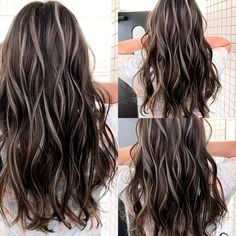 Pin on Makeup looks Grey Brown Hair, Brown Hair Shades, Brown Blonde Hair, White Hair Highlights, Hidden Hair Color, Summer Hair Color For Brunettes, Chelsea Houska Hair, Haircuts For Long Hair With Layers, Gorgeous Hair Color