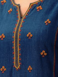 Embroidery On Kurtis, Hand Embroidery Dress, Kurti Embroidery Design, Embroidery Neck Designs, Embroidery On Clothes, Embroidery Works, Embroidered Clothes, Hand Embroidery Stitches, Embroidery Fashion